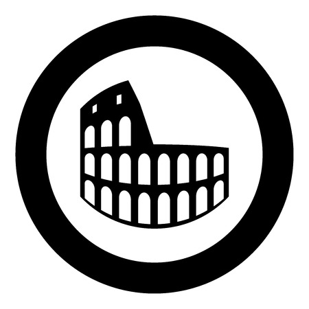 Coliseum black icon in circle vector illustration isolated