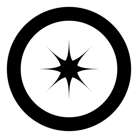Star black icon in circle vector illustration isolated