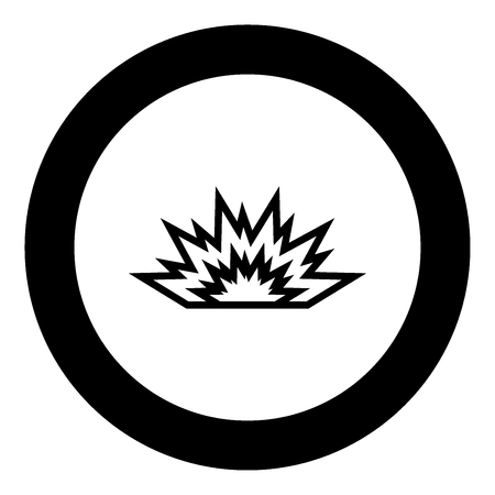 Explosion black icon in circle vector illustration isolated