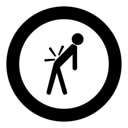 Man a with sick back . Backache black icon in circle vector illustration isolated