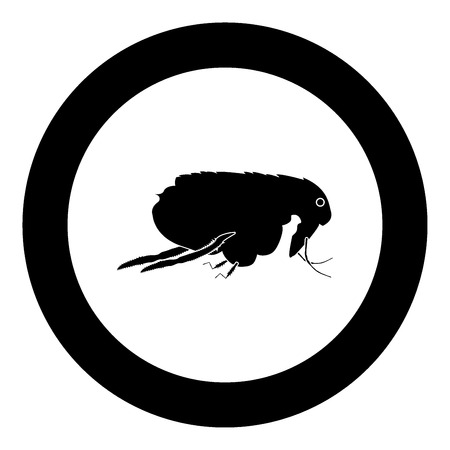 Flea black icon in circle vector illustration isolated Ilustração
