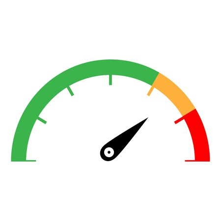 Speedometer green orange red color icon   vector illustration isolated Vettoriali