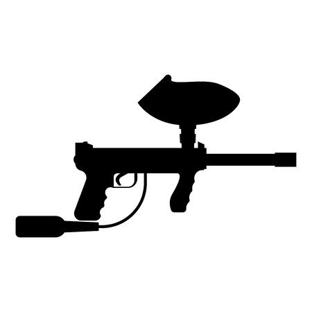 Armas para el icono de vector de ilustración de estilo de color negro de estilo de paintball plana Foto de archivo - 101045509