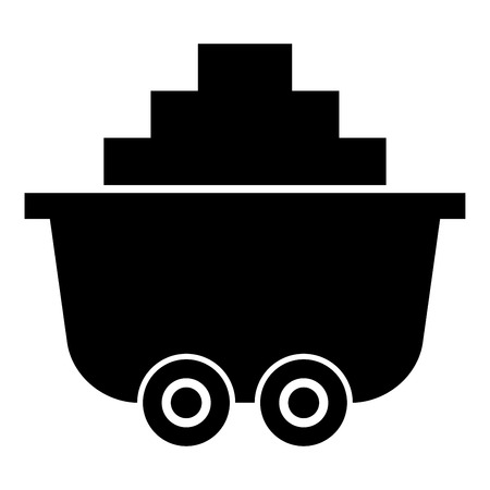 Mine cart or trolley of coal icon black color vector illustration flat style simple image Illustration