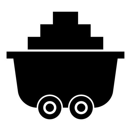 Mine cart or trolley of coal icon black color vector illustration flat style simple image Illusztráció