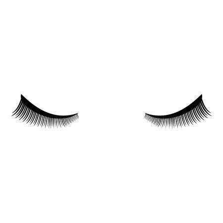 Eyelash icon black color vector illustration flat style simple image Çizim
