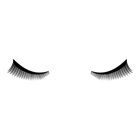 Eyelash icon black color vector illustration flat style simple image Illustration