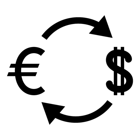 Currency exchange icon black color vector illustration flat style simple image Illustration