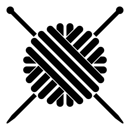 Ball of wool yarn and knitting needles icon black color vector illustration flat style simple image Vectores