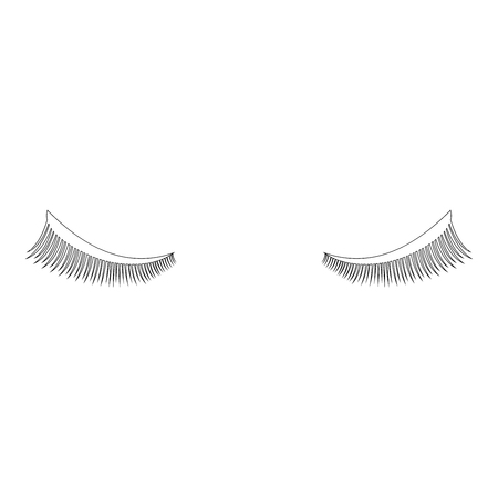 Eyelash icon black color vector illustration flat style outline Çizim