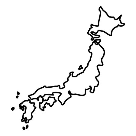 Map of Japon icon black color vector illustration flat style outline