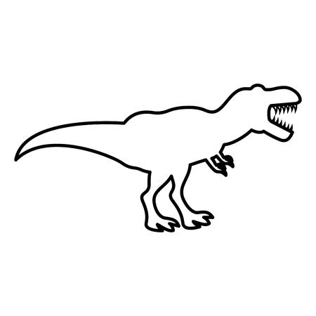 Dinosaurus tyrannosaurus t rex pictogram zwarte kleur vector illustratie vlakke stijl overzicht Vector Illustratie