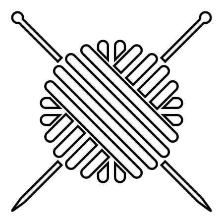 Ball of wool yarn and knitting needles icon black color vector illustration flat style outline
