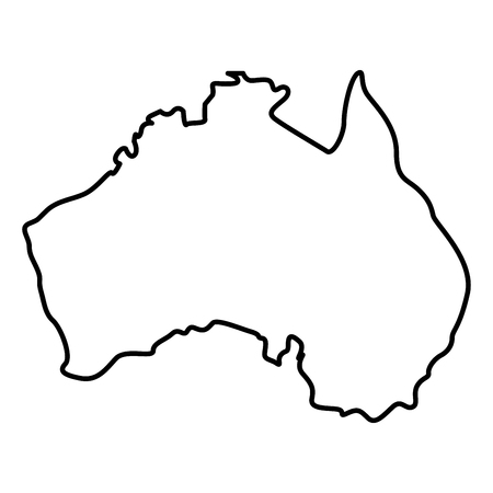 Map of Australia icon black color vector illustration flat style outline