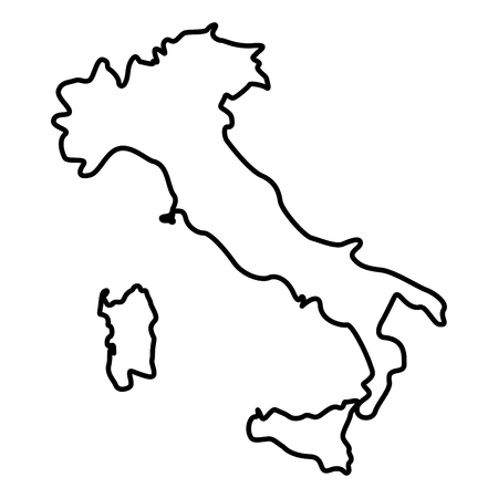 Map of Italy icon black color vector illustration flat style outline  イラスト・ベクター素材