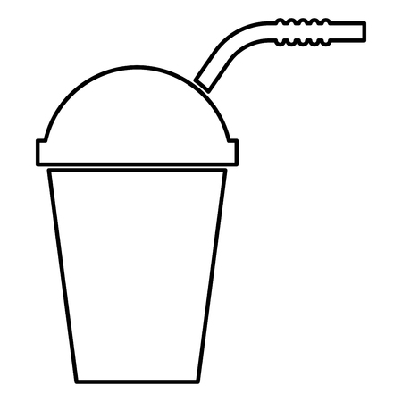 Closed container for hot cold drinks with straw icon black color vector illustration flat style outline Çizim