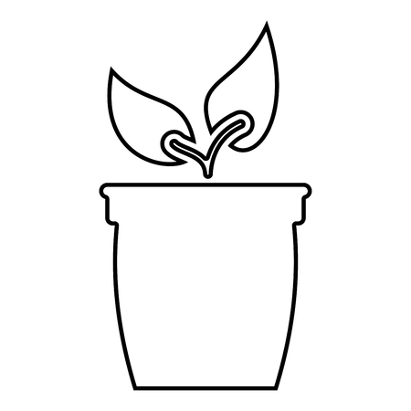 Flowerpot or pot with plant icon black color vector illustration flat style outline
