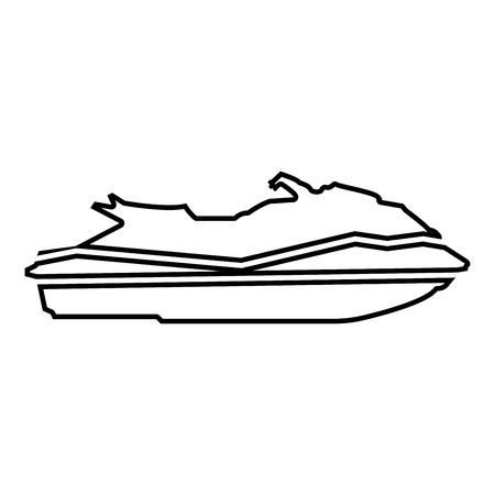 Icône de Waverunner couleur noire vector illustration style plat contour
