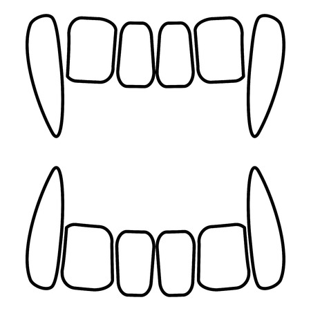 Vampire's teeths icon black color vector illustration flat style outline 矢量图片