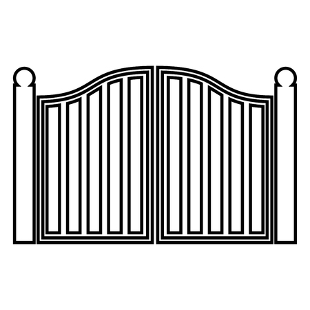 Old gate icon black color vector illustration flat style outline