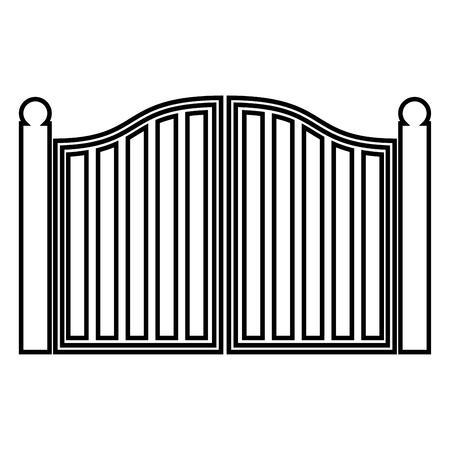 Old gate icon black color vector illustration flat style outline