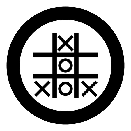 Tic tac toe game icon black color vector illustration simple image flat style Çizim