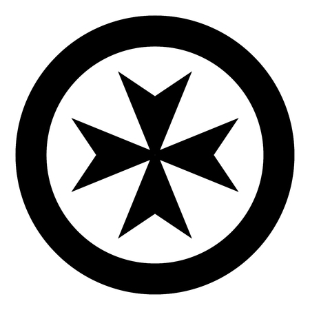 Maltese cross icon black color vector illustration simple image flat style