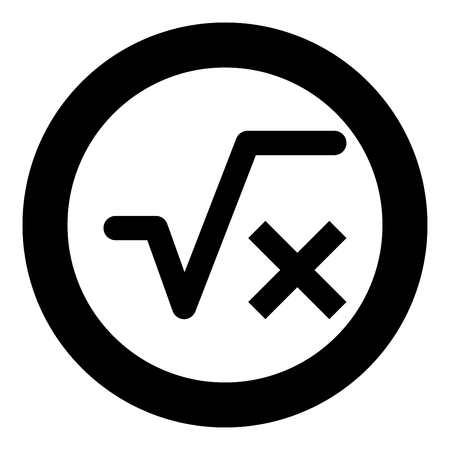 Square root of x axis icon black color vector illustration simple image flat style