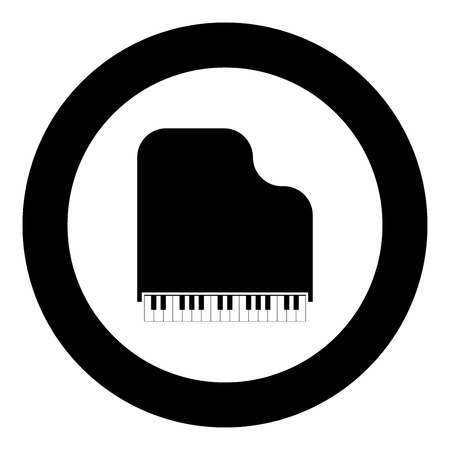 Grand piano icon black color vector illustration simple image flat style