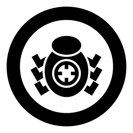 Bug in target sight icon black color vector illustration simple image flat style