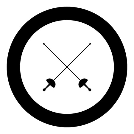 Swords for fencing icon black color vector illustration simple image flat style