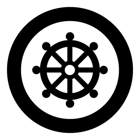 Symbol budhism wheel law religious sign icon black color vector illustration simple image flat style Illustration