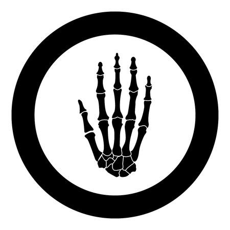 Hand bone icon black color vector illustration simple image flat style
