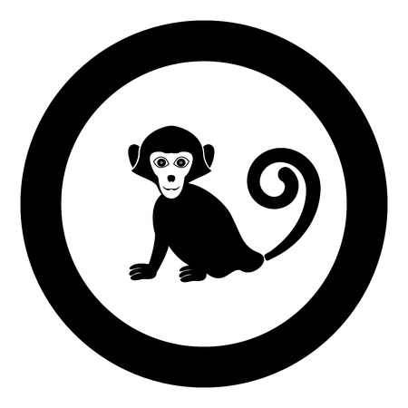 Monkey icon in round black color vector illustration flat style. Illustration