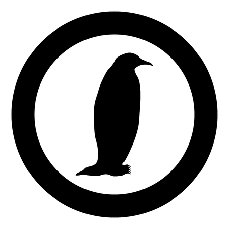Penguin icon in round black color vector illustration flat style.