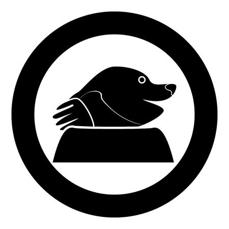 Mole icon in round black color vector illustration flat style for garden craft. Ilustração