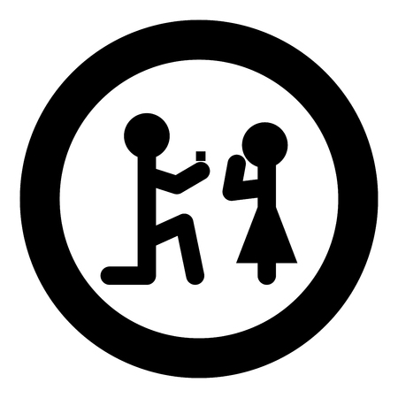 The man makes an offer woman stick icon in round black color vector illustration flat style.