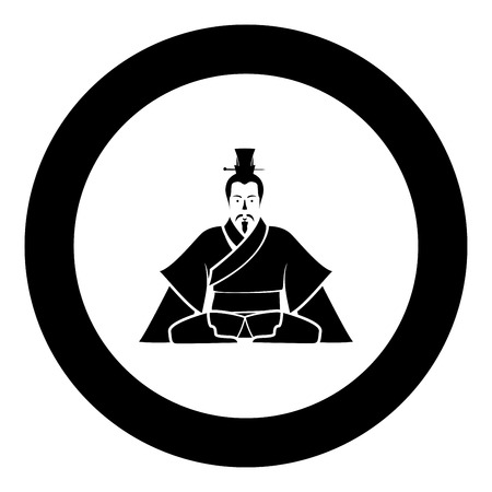 Emperor of China icon in round black color vector illustration flat style black.