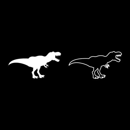 Dinosaur tyrannosaurus t rex icon set white color vector illustration flat style simple image outline Vector Illustration