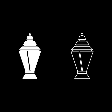 Ramadan kareem lantern or fanous icon set white color vector illustration flat style simple image outline