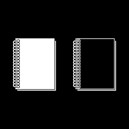 Notebook with spring icon set white color vector illustration flat style simple image outline