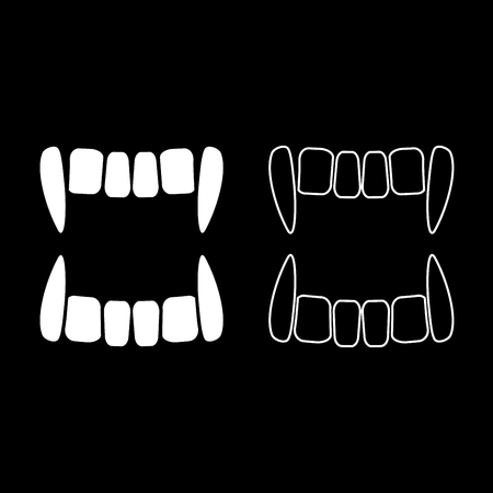 Vampires teeths icon set white color vector illustration flat style simple image outline Çizim
