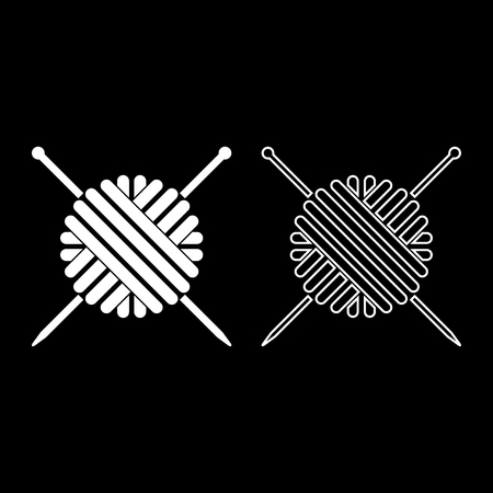 Ball of wool yarn and knitting needles icon set white color vector illustration flat style simple image outline