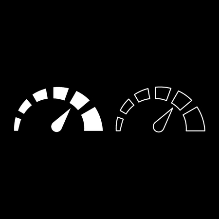 Speedometer icon set white color vector illustration flat style simple image outline