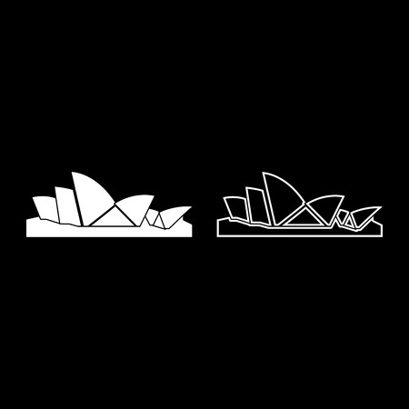 Sydney Opera House icon set white color vector illustration flat style simple image outline