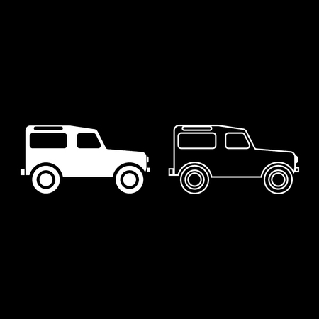 Off road vehicle icon set white color vector illustration flat style simple image outline