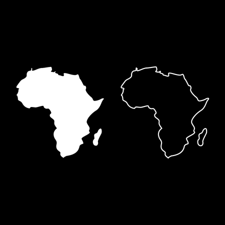 Map of Africa icon set white color vector illustration flat style simple image outline