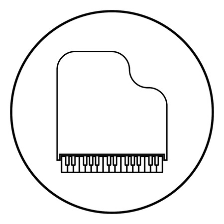 Grand piano icon outline in circle black color vector illustration simple image flat style