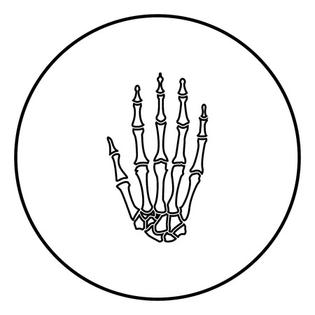 Hand bone icon outline in circle black color vector illustration simple image flat style