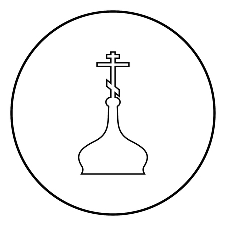 Cupola ortodox church icon outline in circle black color vector illustration simple image flat style